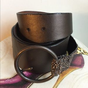 CHICO'S LEATHER BROWN BELT SIZE M/L
